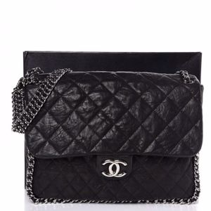 80404f2ccdc6fd CHANEL Lambskin Quilted Maxi Chain around black